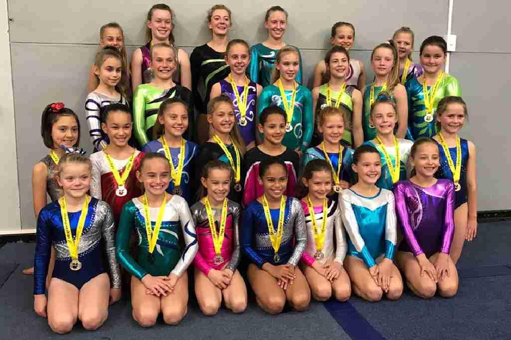 Wynland Gymnastics Group Photo-Gold-Medals